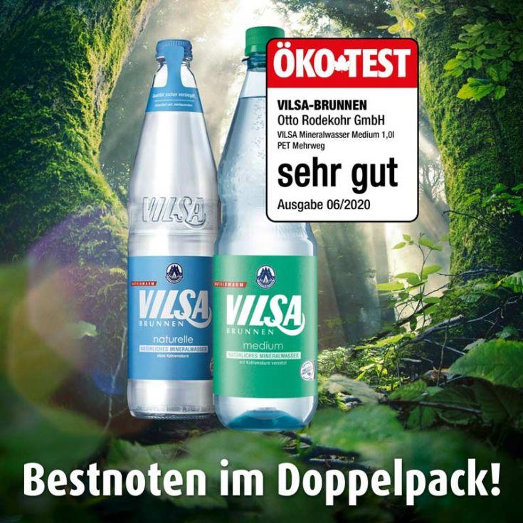 VILSA Mineralwasser naturelle Glas, VILSA Mineralwasser Medium PET mit Öko-Test Siegel