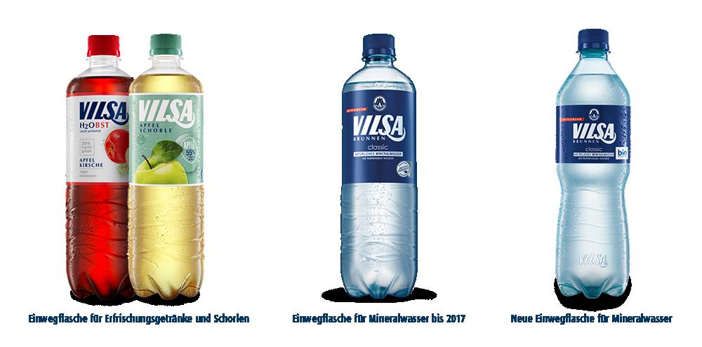VILSA H2Obst Apfel-Kirsche PET, VILSA H2Obst Apfelschorle PET, VILSA Mineralwasser classic PET, VILSA Mineralwasser classic rPET im Vergleich