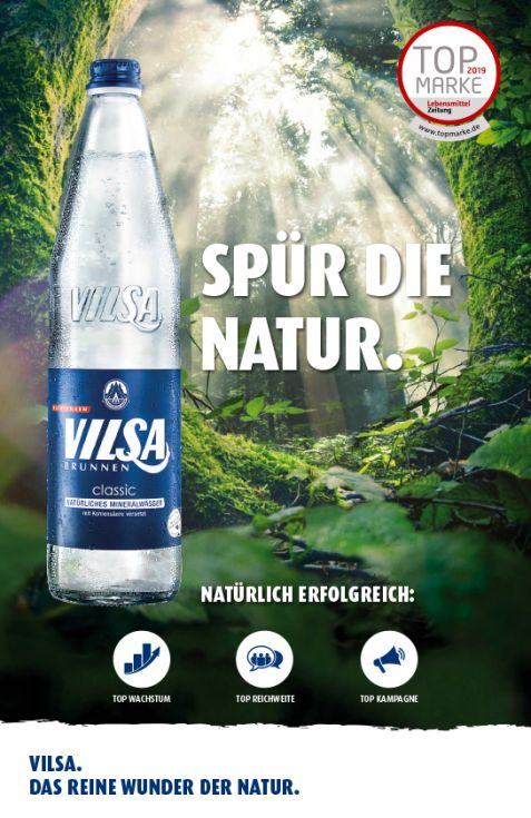 Spür die Natur: VILSA Mineralwasser classic Glas mit dem Top Marken 2019 Logo der Lebensmittel Zeitung