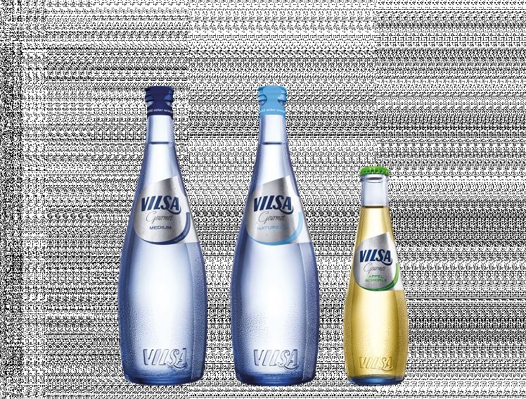 VILSA Gourmet Mineralwasser medium, natuerelle und Apfelschorle in der Glasflasche