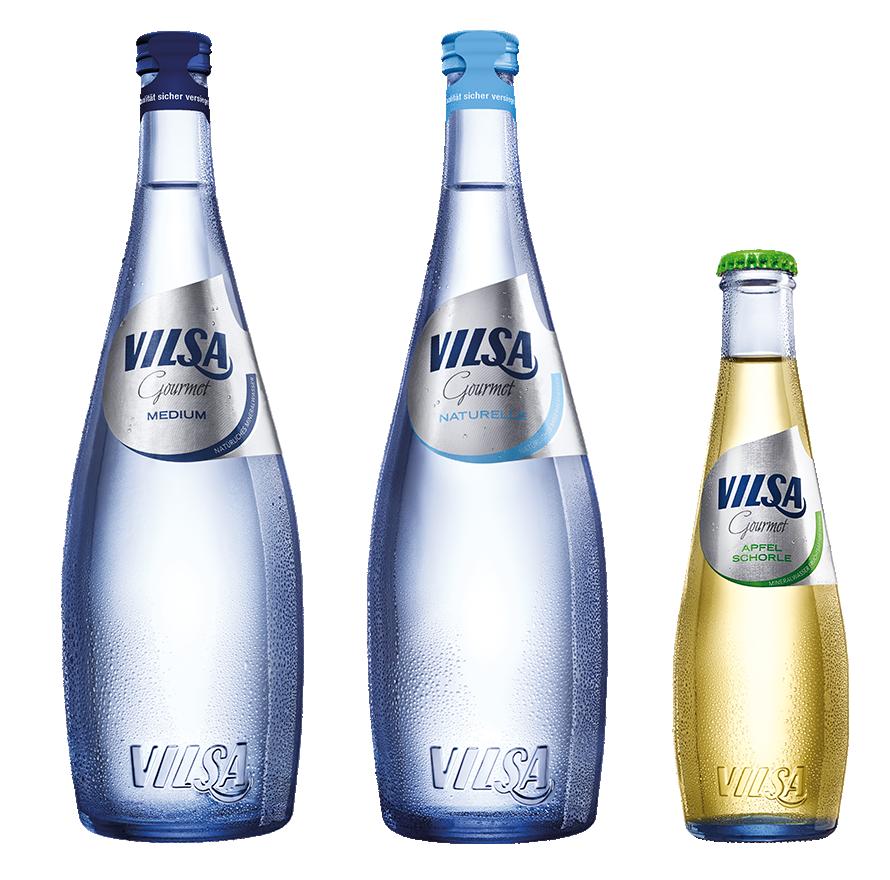 VILSA Gourmet Mineralwasser Medium 0,75l, VILSA Gourmet Mineralwasser Naturelle 0,75l, VILSA Gourmet Apfelschorle 0,25l