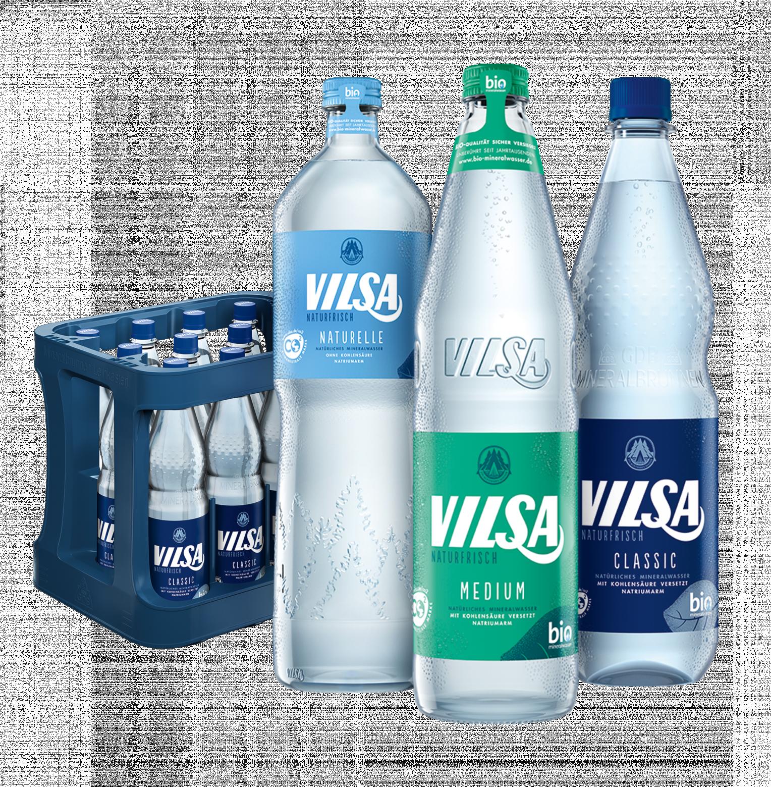 Kasten mit VILSA Mineralwasser classic 0,5l Genießerflasche Naturelle, VILSA Mineralwasser Medium 1,0l Glas, PET VILSA Mineralwasser classic 1,0l