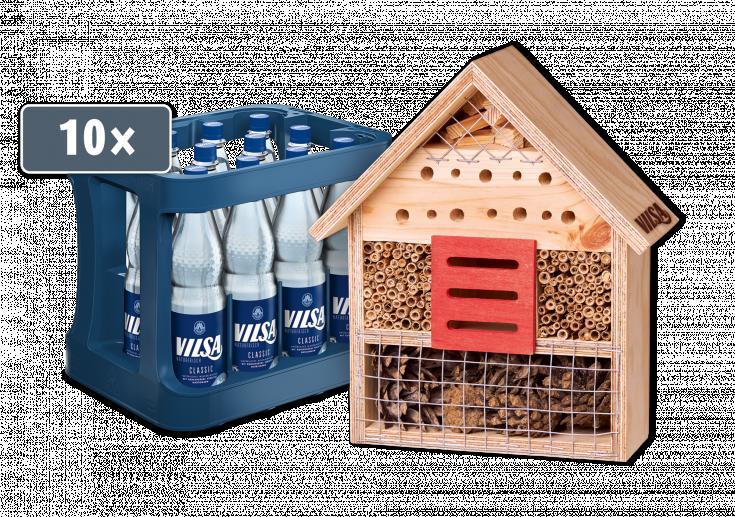 Insektenhotel mit Kasten mit VILSA Mineralwasser classic PET