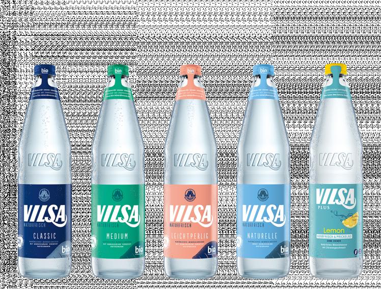 VILSA Mineralwasser classic Glas, VILSA Mineralwasser medium Glas, VILSA Mineralwasser leichtperlig Glas, VILSA Mineralwasser naturelle Glas, VILSA Mineralwasser lemon Glas